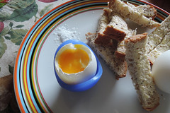 Soft boiled egg and soldiers (Heathermary44) Tags: food egg softboiledegg bread plate salt seasalt meal breakfast stilllife foodphotography