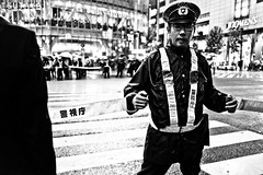 Police Blockade (Victor Borst) Tags: street streetphotography streetlife reallife real realpeople asia asian asians faces face candid travel travelling trip traveling premier abe blackandwhite bw mono monotone monochrome tokyo japan japanese mankind shibuyacrossing traffic portrait shopping city cityscape citylife