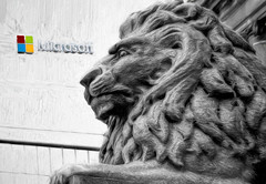 Lion of Vancouver (sells out) (beelzebub2011) Tags: canada britishcolumbia vancouver bw monochrome selectivecolor statue sculpture lion microsoft