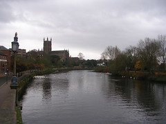 Looking southwards down the River Severn (southglosguytwo) Tags: 2017 buildings cloudy november sky worcester cathedral lamppost riversevern water trees swans birds
