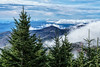 Firs Bracket Mountain Peaks Wreathed in Clouds at Mount Mitchell State Park (JasonianPhotography) Tags: trees firs mountmitchell blueridgeparkway mountains mountmitchellstatepark northcarolina appalachianmountains mountainrange burnsville unitedstates us