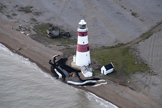 Orfordness Lighthouse on Orford Ness in Suffolk - November 2017 aerial image