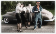 The Oldsmobile... (iEagle2) Tags: women summer sweden streetphotography female femme olympusep2 olympuspen oldcar old oldsmobile
