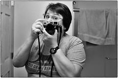 Self Portrait, December 01, 2017 (Maggie Osterberg) Tags: leica m9p voigtlandernoktonclassic3514 maggieo scottsbluff nebraska selfportrait mirror bw blackwhite silverefexpro2