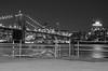 Watchtower (Lojones13) Tags: bridge brooklyn tower watchtower pier seaport river blackandwhite waterfront night nocturnal sign