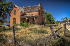 Abandoned House (donnieking1811) Tags: utah escalante house abandoned decaying fence exterior outdoors sky blue trees brick hdr canon 60d lightroom photomatixpro