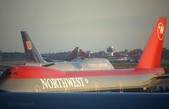Jumbo size ramp. (Longreach - Jonathan McDonnell) Tags: scan scanfromaslide 1990s japan rjaa boeing 747 boeing747 northwest northwestairlines united unitedairlines n631us