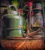Wind From the Past (clarkcg photography) Tags: relics waterjug thermos lantern wickerbasket picnicbasket campingbasket decorations festive mondayfreetheme 7dwf