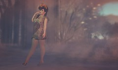 Flora. (likethewaves) Tags: sl secondlife slfashion fashion style styling floral flora flowers hosiery chevron oriental photography virtualphotography virtual woman fashionphotography smoke smoky foggy fog