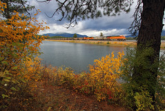 Autumn on the Fourth Sub (Moffat Road) Tags: bnsf coaltrain autumn fallcolor fall frogpond troutcreek montana train railroad locomotive pond mrl montanaraillink mrlfourthsub 4thsub mt 5940 ge es44ac