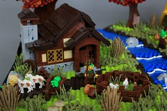 Allanar Forest (jsnyder002) Tags: lego creation model moc build forest allanar dwelfs cottage landscape tree trees autumn fall river stream banks interior roofs design technique method rocks bees beehives stonework birdhouse animals chickens goats pathstudor roof