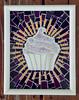purple cupcake white frame (toadranchlady) Tags: mosaicart mixedmediamosaic temperedglass stainedglass foundobjects