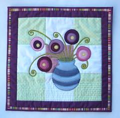 Flowers In A Vase Mini Quilt (jkw_fire_horse) Tags: smallquilt wallhanging flowersinavase solwayquilterschallenge greenpurple white burgundy handmade patchwork quilting applique