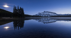 Two Jack's two moons (Ch3micals) Tags: canada rockie mountains landscape lake moon two jacks banff