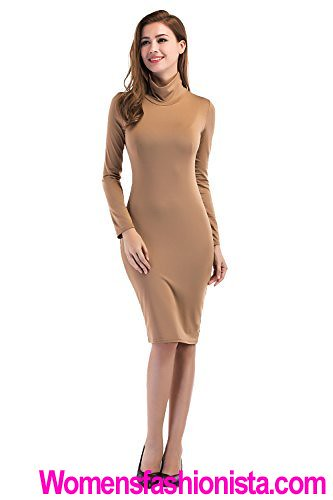 63e8511f0b Turtleneck Bodycon Long Dress Slim Midi Dress for Women with Long Sleeves  Club Party Wear to