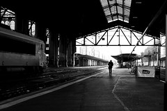 The man and the engine (pascalcolin1) Tags: paris13 austerlitz man homme locomotive engine gare station lumière light photoderue streetview urbanarte noiretblanc blackandwhite 5omm canon canon50mm