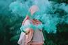 Smoke. (Januarain Photography) Tags: januarain photo photography flickr smokebomb blue hijab girl asian asiangirl fantasy female faceless canon 85mm