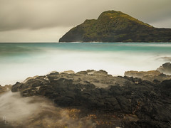 Misty Morning Makapu'u (RobertCross1 (off and on)) Tags: 1250mmf3563mzuiko em5 hi hawaii honolulu longexposure makapuu omd oahu olympus pacific pacificocean waimanalo beach clouds hill landscape lava lighthouse ocean rock sea seascape surf water