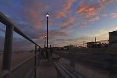 Cotton Candy Clouds - Asbury Park Boardwalk (EldeeenExplores) Tags: clouds sunset goldenhour benches boardwalk nj newjersey usa canoncameras canon t6 wideangle us asburypark jerseyshore landscape