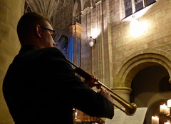 The Trumpet Shall Sound (Kumukulanui) Tags: messiah trumpet handel greatmalvernpriory greatmalvern priorychurchofgreatmalvern candle candlelight norman arch normanarch flickersbest