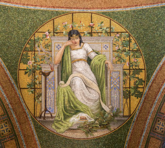 1909 tile mosaic depicting Memory in the Lakewood Memorial Chapel in Minneapolis, Minnesota. The mosaic was designed by the Charles Lamb Studios of New York (thstrand) Tags: 19001909 1908 1909 allegorical allegory american architecturalstyle architecturalstyles architecture arts artwork building buildings builtstructure chapels charleslamb church circle circular classical clothinganddress colorful decorativeart depicting depiction early20thcentury elaborate harrywildjones historicsite history humanfigures inside interior interiors lakewoodcemetery mn marble memorialchapel memory minneapolis minnesota mosaicart nationalregisterofhistoricplaces nobody opulence orante religion religious robe robes round sanctuary structures symbol symbols tessellae tile tiles us usa unitedstatesofamerica visualarts woman women