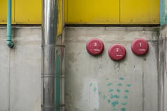 Marktkauf I (speedmatters) Tags: concrete wall yellow grey green pink pipe minimal architecture structure texture