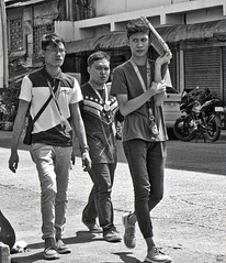 Sun Block (Beegee49) Tags: street boys teenagers college students walking bacolod city philippines