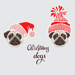Pugs. Vector set of  dog's face in Santa's hat. Two hand-drawn isolated  elements on a gray background.  Dog - animal symbol of new year 2018. (everythingisfivedollar) Tags: pug santaclaus hat holiday dog face drawing animal black white wrinkles doggy illustration funny puppy isolated pup bestfriend cute greetingcard humorous sketch canine purebred handdrawn vector set element object red outline contour asian celebrate tradition zodiac cartoon art decoration chinese card symbol calendar 2018 newyear santa mustache chihuahua