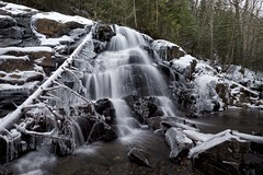 waterfall, robertson creek (twurdemann) Tags: algomahighlands canada cascade cold deadfall forest fujixt1 goulaisriver ice icicles landscape northernontario ontario ravine robertsoncreek snow stream trees vankoughnettownship viveza water waterfall winter xf14mm