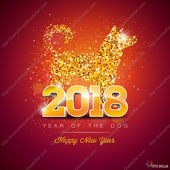2018 Chinese New Year Illustration with Bright Symbol on Shiny Celebration Background. Year of the Dog Vector Design. (everythingisfivedollar) Tags: flower background vector design 2018 new year abstract frame dog silhouette pattern ornament nature banner leaf art paper holiday spring animal chinese zodiac sign symbol happy asian celebration china decoration graphic red illustration oriental traditional card asia culture cut element greeting puppy festival good luck template confetti serpentine glitter shiny