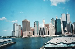New York City - Lower Manhattan - World Trade Centre Before 9/11 - 2001 - View From Brooklyn (Onasill ~ Bill Badzo) Tags: brooklyn port authority pier worldtradecentre 911 before vintage old photo gone destoryed lost manhattan lower onasill sky clouds ny newyork attraction tourist travel historic moment newyorkcity