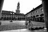 Piazza ducale (andrea.prave) Tags: vigevano pavia lombardia lombardy piazza ducale castle castello sforzesco bike bicicletta bicicleta bicyclette fahrrad 自転車 велосипед 自行车 sykkel bn bw blackandwhite biancoenero monocromo monocrome blancoynegro noiretblanc 黑色和白色 白黒 ਕਾਲਾਅਤੇਚਿੱਟਾ schwarzundweis черныйибелый pretoebranco zwartenwit μαύροκαιάσπρο أبيضوأسود שחורולבן tower