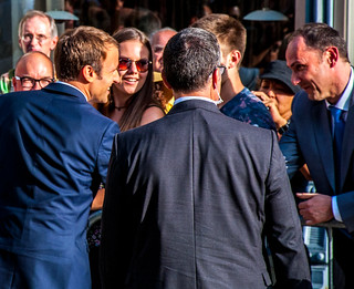 Emmanuel Macron Gladhanding