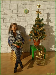 9.advent day - advent calendar with dolls 2017 (Mary (Mária)) Tags: christmas advent 2017 christmastree christmasornaments christmastime golden angel hervéléger louboutin ikea huset handmade barbie doll toys style fashion dollphotography photoshoot diorama miniatures december