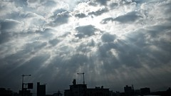 Lights Above The City (somazeon) Tags: sky angels ladder tottori japan panasonic lumix cloud holy divine 日本 鳥取 雲