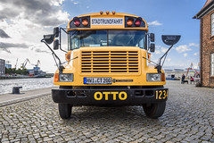 The School Bus (dietmar-schwanitz) Tags: wismar germany deutschland mecklenburgvorpommern alterhafen hafen harbour oldharbour bus schulbus schoolbus baumhaus ostsee balticsea fahrzeug vehicle international bluebird nikond750 nikonafsnikkor24120mmf40ged lightroom dietmarschwanitz