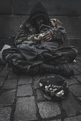 A man and his dog at Charles Bridge (mirri_inc) Tags: man dog street animal pet dark sad