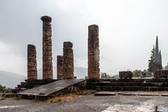 Delphi (CaptSpaulding) Tags: greece delphi old ancient historic building buildings statue stairs rain sky canon color contrast clouds closeup athens bank treasury tower