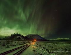 Signal Light (Traylor Photography) Tags: alaska night northernlights birdcreek storm turnagainarm sewardhighway auroraborealis railroad anchorage unitedstates us