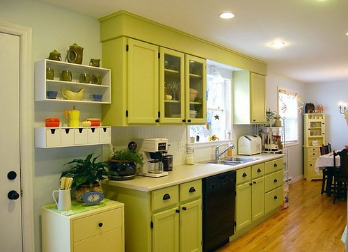 green-kitchen-cabinet-manufacturers-light-cream-mosaic-countertop-dining-table-island-dark-mosaic-countertop-modern-stainless-faucet-finish-varnished-wooden-792x573