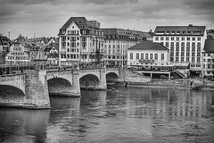 Basel in Light Rain (Jack Heald) Tags: basel switzerland rain river rhine bridge mittlere rheinbrücke heald jack nikon tourist travel tourism black white bw monochrome