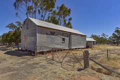 Arkona VIC (phunnyfotos) Tags: phunnyfotos australia victoria vic wimmera arkona shed rural farm countrytown farming corrugatediron corrugated rippleiron miniorb advertisement advertising sign paintedsign fence gates gate nikon crosskerosene cross kerosene