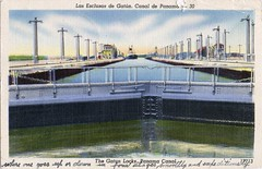 The Gatun Locks, Panama canal (SwellMap) Tags: postcard vintage retro pc 30s 40s 50s 60s thirties forties sixties fifties roadside midcentury atomicage nostalgia americana advertising street car linen design style architecture building