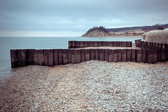 Point Betsie Seawall Layers (matthewkaz) Tags: seawall seawalls wall barrier barriers metal lakemichigan lake water sky clouds greatlakes shore shoreline coastline pointbetsie stones ice winter sand benziecounty michigan 2017