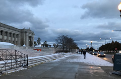 """""""These woods are lovely, dark and deep, /  But I have promises to keep, /  And miles to go before I sleep, /  And miles to go before I sleep."""" ―Robert Frost ❄️ (anokarina) Tags: ⛄️ ☃️ ☁️ ❄️ winter appleiphone7 thefieldmuseum chicago illinois il nearsouthside clouds sunset city street sidewalk stairs steps stairway staircase evening dusk lights chicagoist"""
