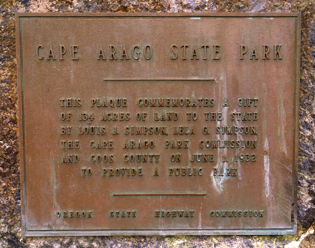 Cape Arago State Park Commemorative Plaque