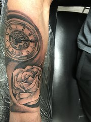 Pocket watch and rose tattoo by Wes Fortier @ Burning Hearts Tattoo Co. Waterbury, CT. Instagram: @wesdtc Facebook: facebook.com/burningheartstattoo