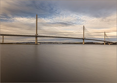 Queensferry Crossing_G5A5110B (ronniefleming@btinternet.com) Tags: scottishfield queensferrycrossing scotland visitscotland theforthroadbridges controversial edinburgheveningnews queensferry arcitectural leadinglines calmwaters riverforth blueskies clouds famouslandmark black white suspensioncables december 2017