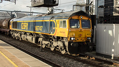 66747 (JOHN BRACE) Tags: 2008 gmemd london canada built co class 66 loco 66749 for crossrail ag but never used bought by gbrf 2012 seen chanel tunnel livery reading 1306 theale immingham oil train passing 1430 running 37 late