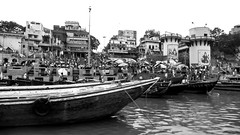 boat cruise (paologmb) Tags: tradition ghat archilovers fire spirit blackandwhite ganga holy gange urban soul spiritual river india smoke architravel architecture creepy varanasi blancnoir boat burning